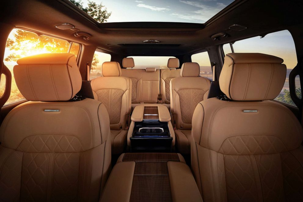PHOTO: The 2022 Grand Wagoneer features hand-wrapped, quilted Palmero leather seats in all three rows.