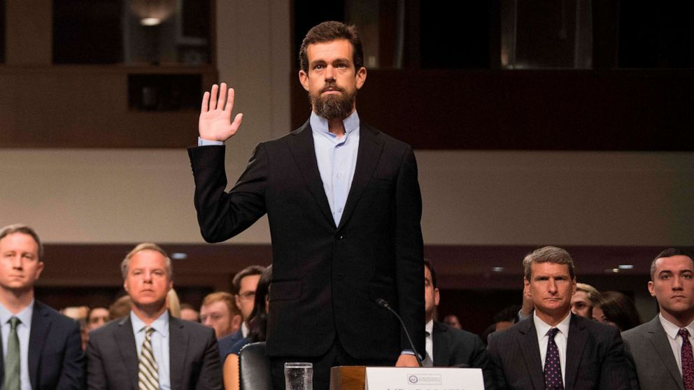 PHOTO: CEO of Twitter Jack Dorsey is sworn in to testify before the Senate Intelligence Committee on Capitol Hill in Washington, Sept. 5, 2018.