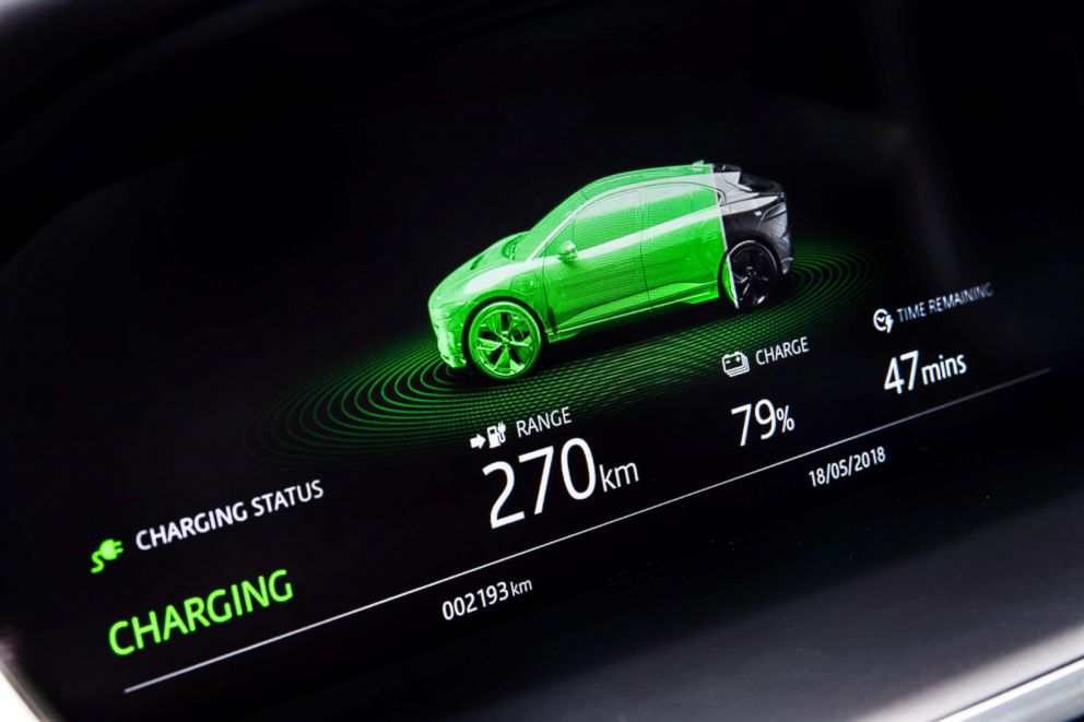PHOTO: The EPA gives the Jaguar I-PACE an official range of 234 miles. I-PACE owners can see the real-time status of the vehicle charge.