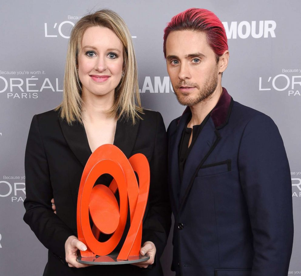 PHOTO: Honoree Elizabeth Holmes poses backstage with her award and actor Jared Leto at the 2015 Glamour Women Of The Year Awards at Carnegie Hall, Nov. 9, 2015, in New York.
