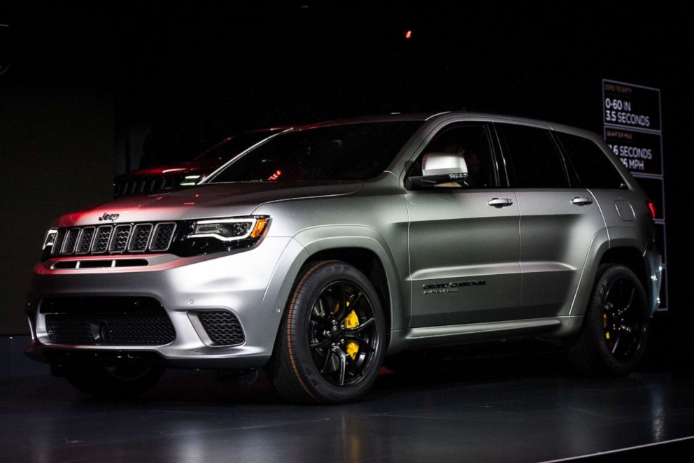 PHOTO: The Jeep Grand Cherokee Trackhawk sports utility vehicle (SUV) is unveiled at the 2017 New York International Auto Show (NYIAS) in New York, April 12, 2017.