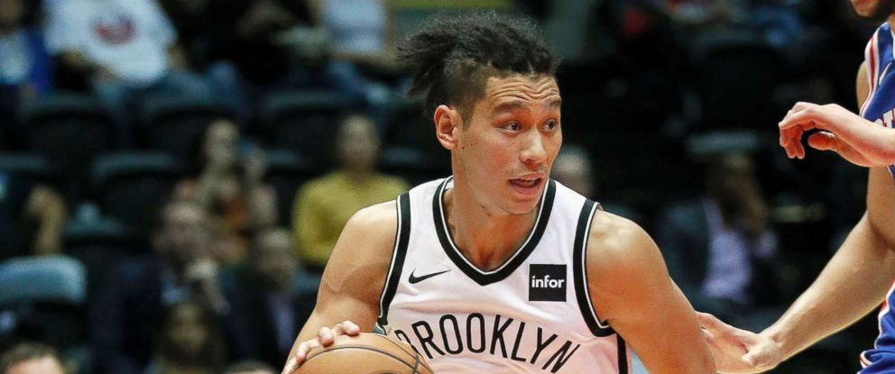 PHOTO: Jeremy Lin #7 of the Brooklyn Nets drives with the ball during a preseason NBA basketball game against the Philadelphia 76ers on Oct. 11, 2017 in Uniondale, New York.