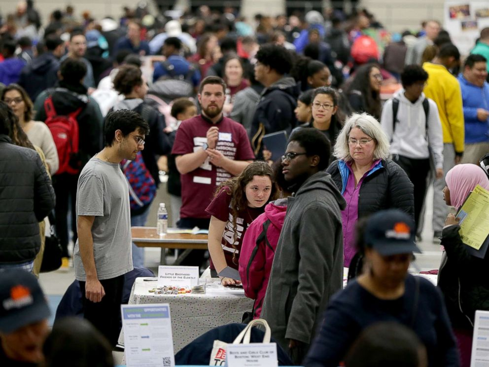 PHOTO: People attend a youth job and resource fair at the Reggie Lewis Track and Athletic Center in the Roxbury neighborhood of Boston, March 10, 2018.