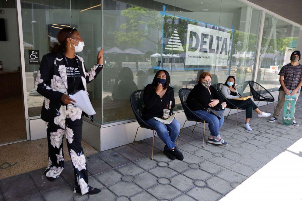 PHOTO: Job seekers attend the Long Beach North Pine Block Job Fair in Long Beach, Calif., May 19, 2021.