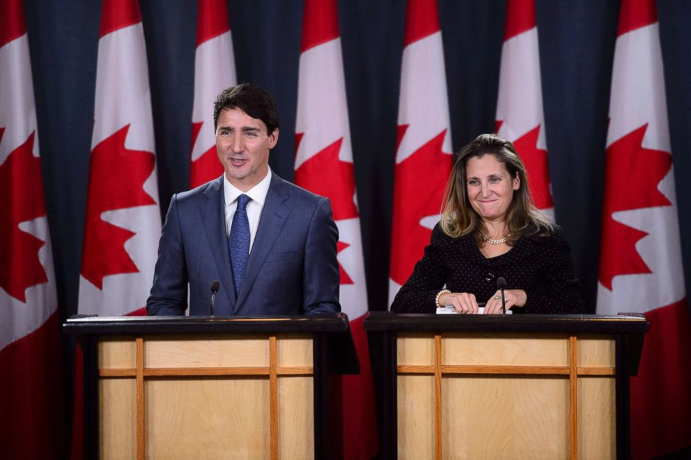 PHOTO: Canadian Prime Minister Justin Trudeau, left, and Minister of Foreign Affairs Chrystia Freeland hold a news conference regarding the United States Mexico Canada Agreement (USMCA) at the National Press Theatre, in Ottawa, Ontario, Oct. 1, 2018.