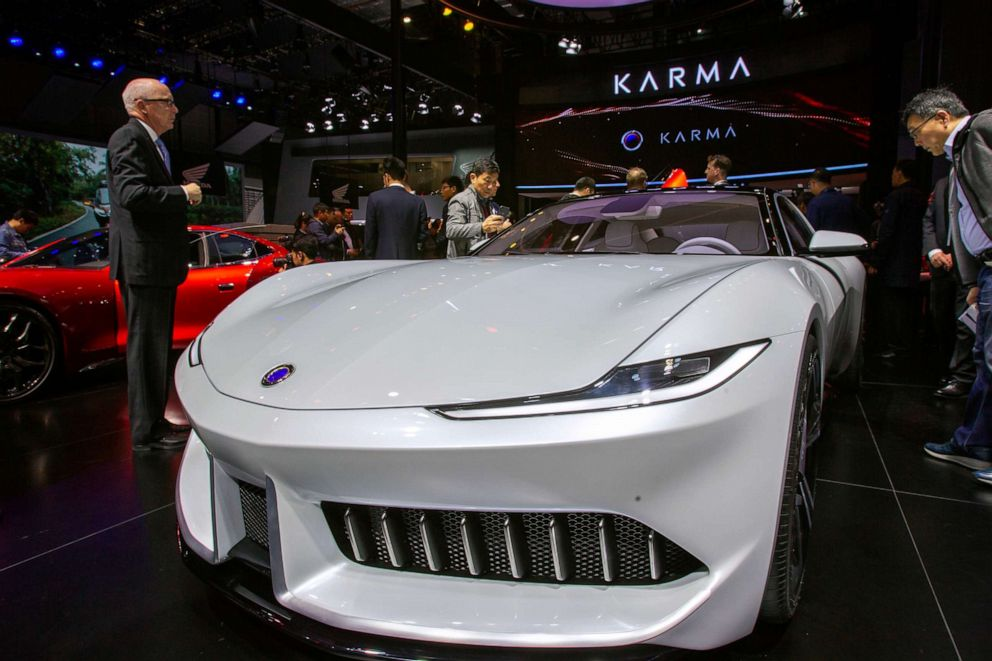 PHOTO: A Karma Pininfarina GT car is displayed during the 18th Shanghai International Automobile Industry Exhibition in Shanghai, China, April 16, 2019.