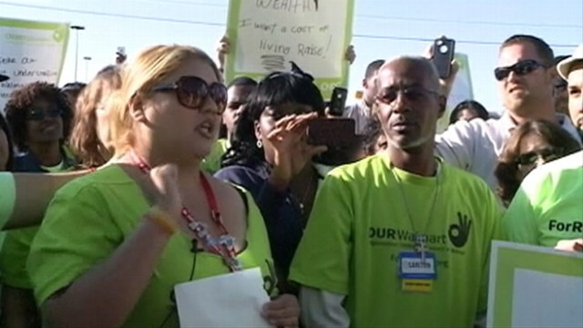 VIDEO: More than 100 Walmart employees protested outside the companys Arkansas headquarters.