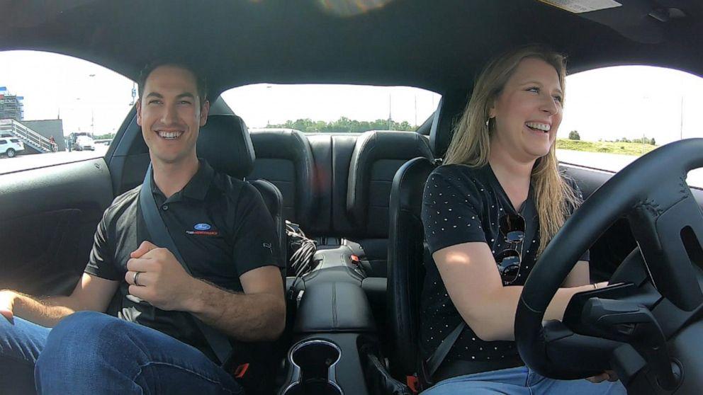PHOTO: Reigning NASCAR champion Joey Logano taught ABC News Morgan Korn how to drive stick in North Carolina, May 14, 2019.