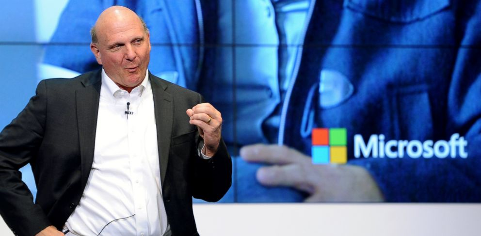 PHOTO: Microsoft CEO Steve Ballmer speaks at the opening of the new Microsoft headquarters in Berlin, Nov. 7, 2013.