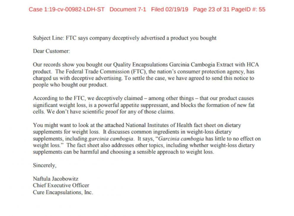 PHOTO: Letter to consumers who purchased Garcinia Cambogia through Amazon.