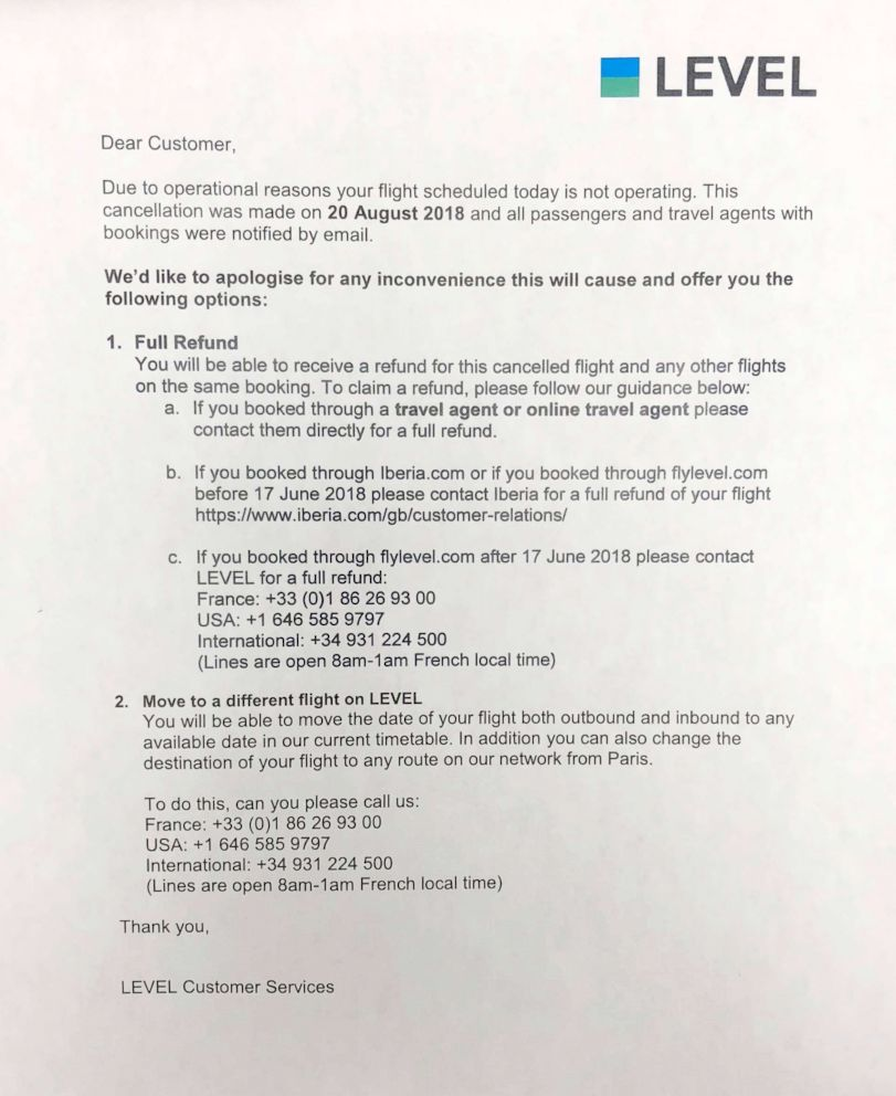 PHOTO: A letter distributed at Newark Airport for Level Airlines customers to notify them that their flights were cancelled. The airline moved its inaugural Newark to Paris service launch date from Sept. 4 to Sept. 18, 2018.