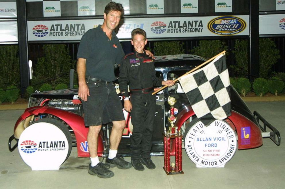 PHOTO: Joey Logano and his father, Tom Logano, celebrating a win at Atlanta Motor Speedway in an updated photo.