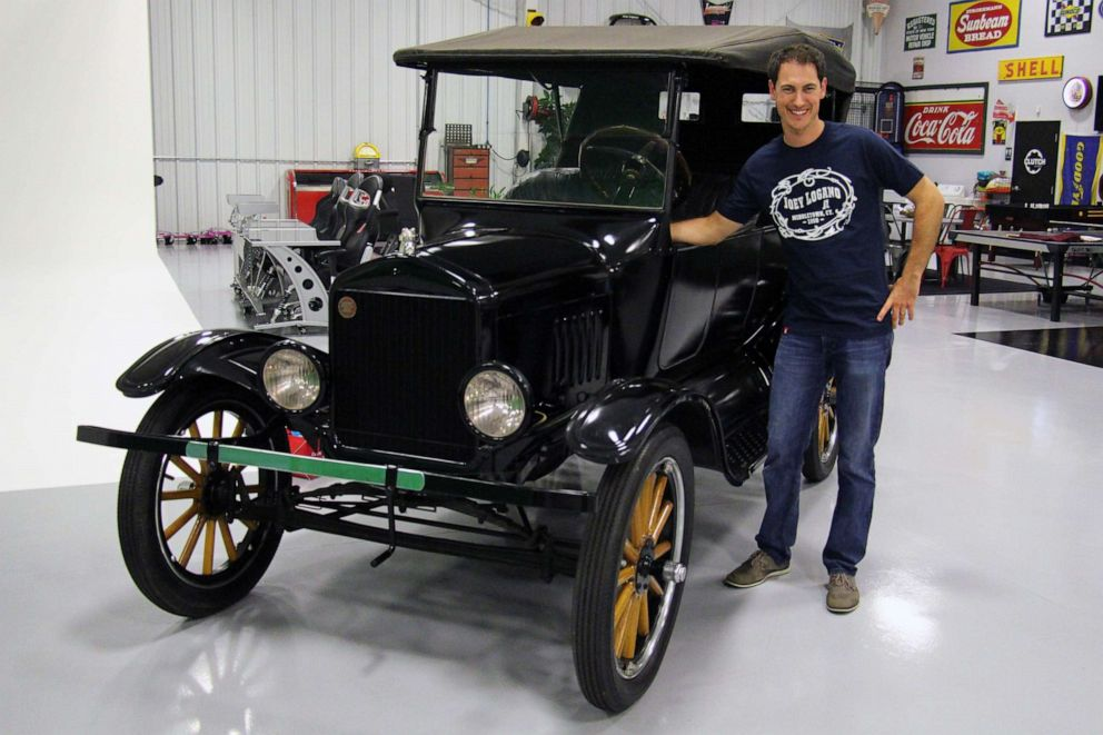 PHOTO: Joey Logano with his 1924 Ford Model T. Logano said he likes to collect classic cars.