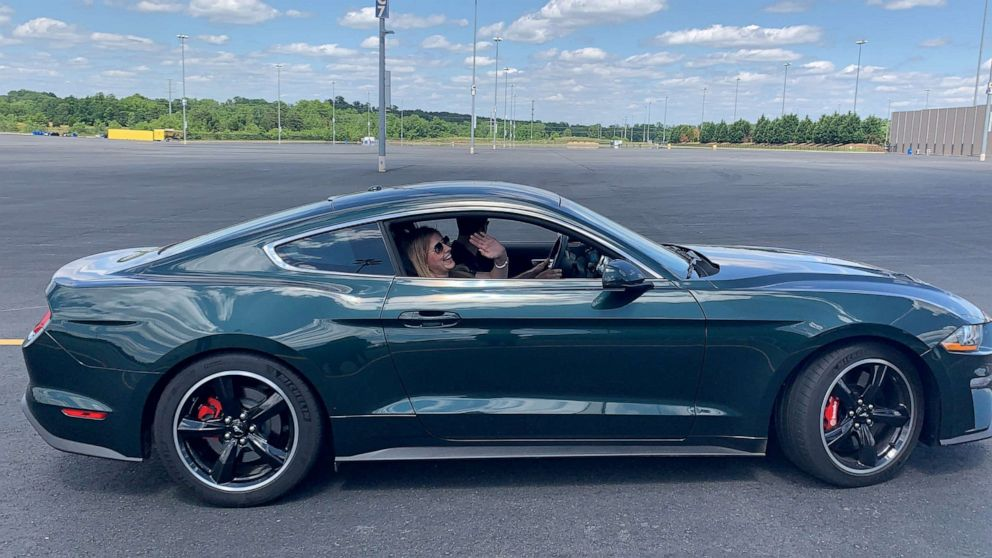 PHOTO: Having a good time in the Ford Mustang Bullitt.