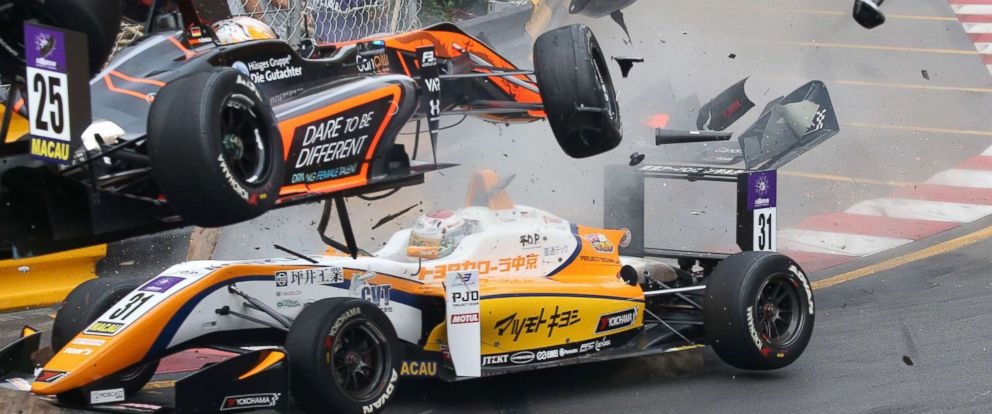 PHOTO: Van Amersfoort Racings 17-year-old German racer Sophia Floerschs car, top, flying off the track at the Formula Three Macau Grand Prix in Macau, China, Nov. 18 2018.