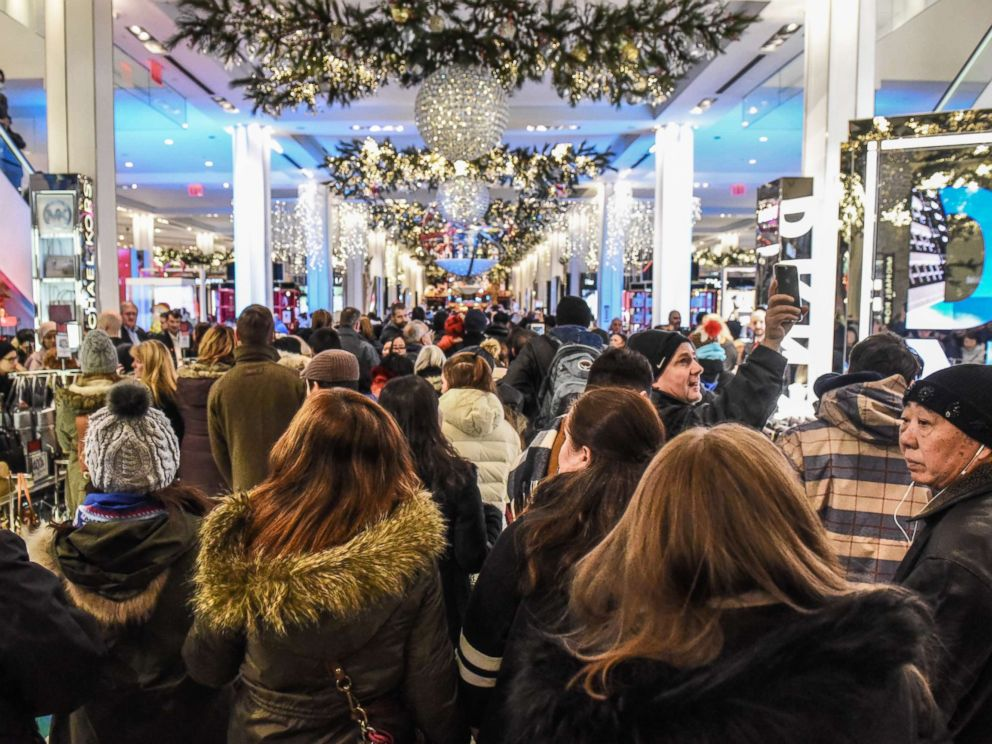 PHOTO: People enter Macys department store to start shopping on Black Friday in New York City, Nov. 23, 2017.