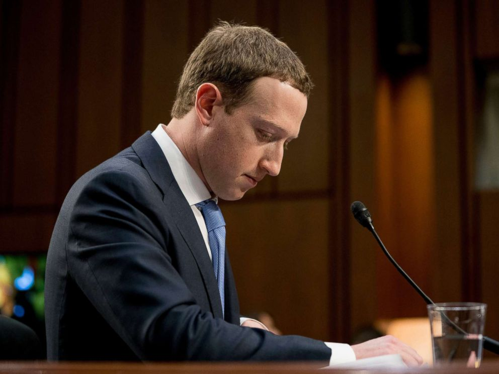 PHOTO: Facebook CEO Mark Zuckerberg pauses while testifying before a joint hearing of the Commerce and Judiciary Committees on Capitol Hill in Washington, April 10, 2018.