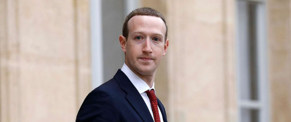 PHOTO: Facebook CEO Mark Zuckerberg leave the Elysee Palace after a meeting with French President Emmanuel Macron on cracking down the spread of misinformation and hate speech, May 10, 2019, in Paris.