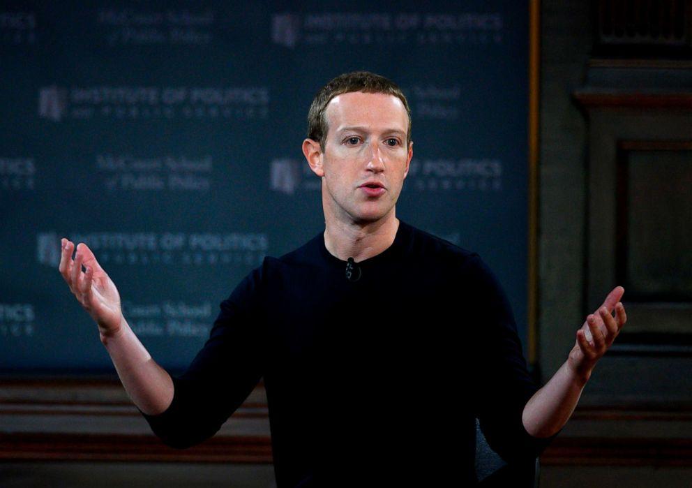 PHOTO: Facebook founder Mark Zuckerberg speaks at Georgetown University in a Conversation on Free Expression in Washington, Oct. 17, 2019.