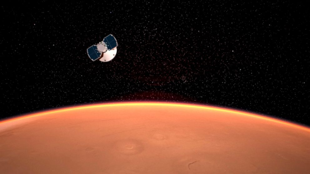 An artist's concept released by NASA illustrates the InSight spacecraft approaching Mars.