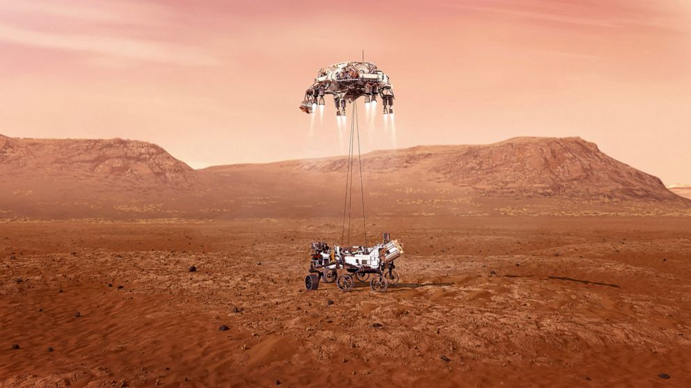 PHOTO: NASA's Perseverance rover lands safely on Mars, Feb. 16, 2021, in an illustration released by NASA.