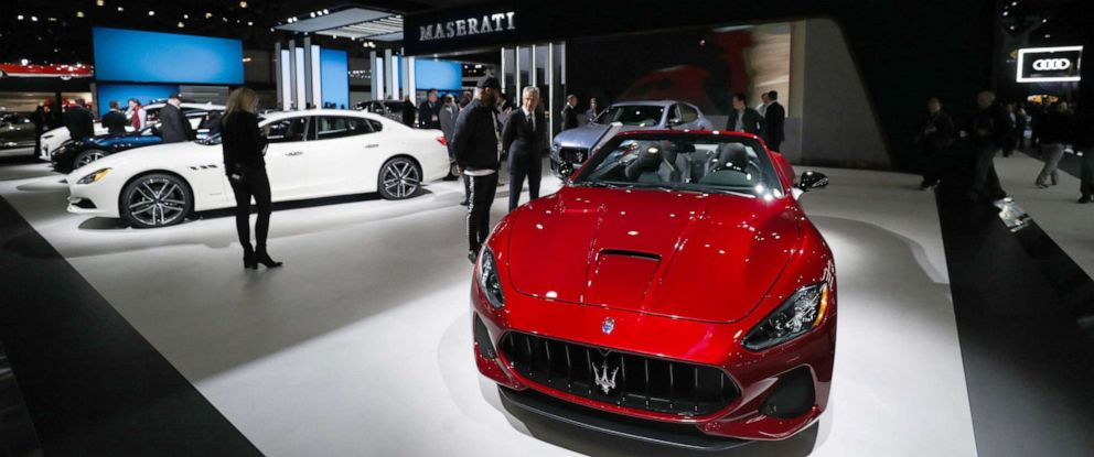 PHOTO: A Maserati Gran Cabrio MC and Quattroporte on display during the New York International Auto Show, April 17, 2019, in New York.