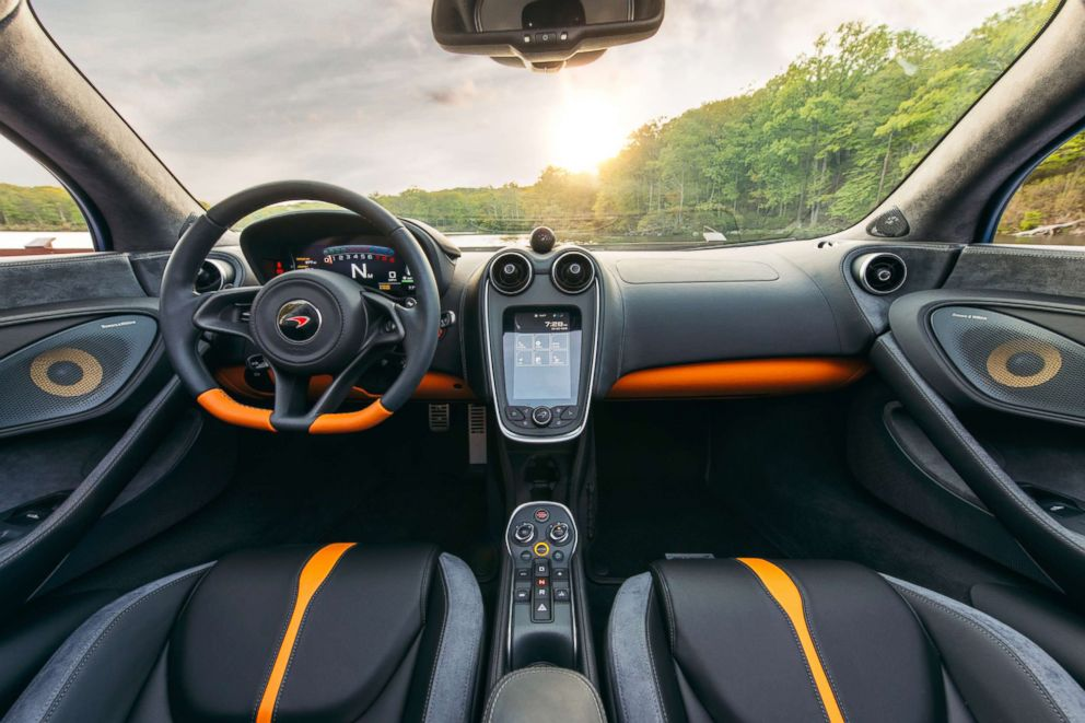 PHOTO: Every McLaren is hand-assembled at the factory in Woking, Surrey, England. Here, a look inside the cabin of the 570S Spider.
