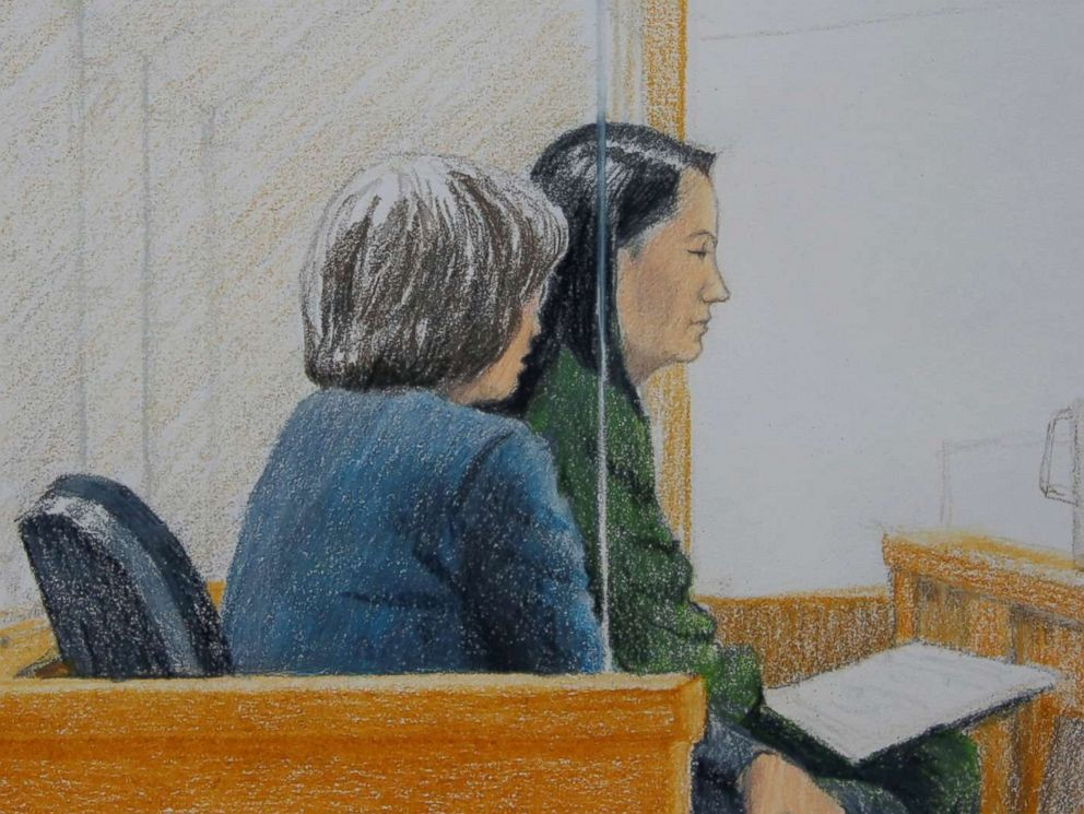 PHOTO: Huawei CFO Meng Wanzhou, who was arrested on an extradition warrant, appears at her B.C. Supreme Court bail hearing in a drawing in Vancouver, British Columbia, Canada, Dec. 7, 2018.