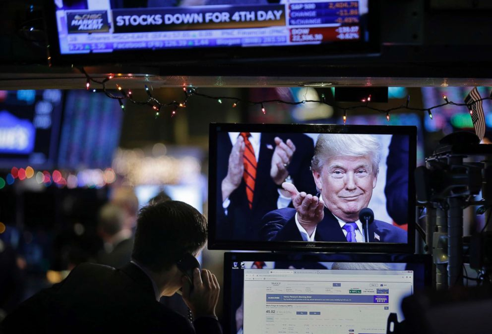 PHOTO: A picture of President Donald Trump is displayed on a computer on the floor of the New York Stock Exchange in New York, Dec. 24, 2018.