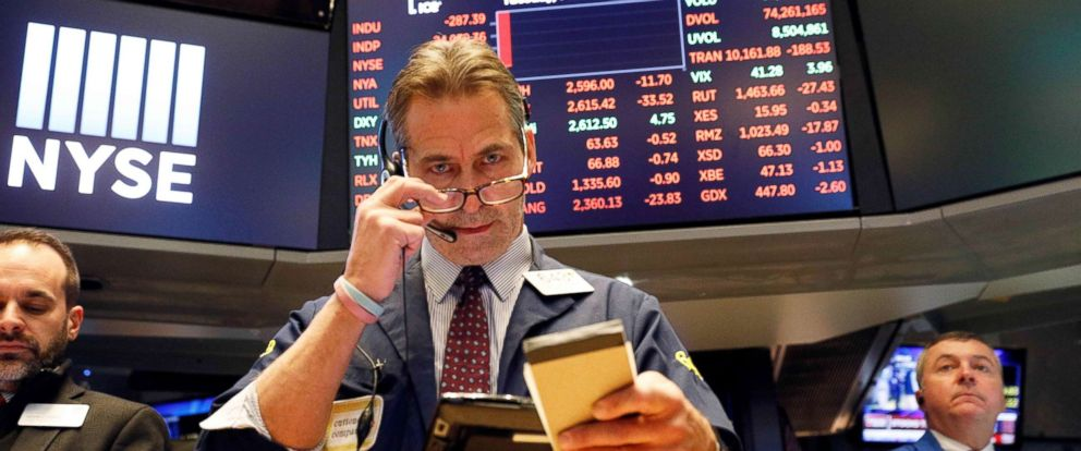PHOTO: A trader works on the floor of the New York Stock Exchange in New York, Feb. 6, 2018.