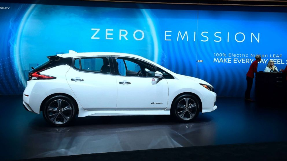 The 2019 Nissan Leaf sits on display at an auto show in Los Angeles, Nov. 29, 2018.