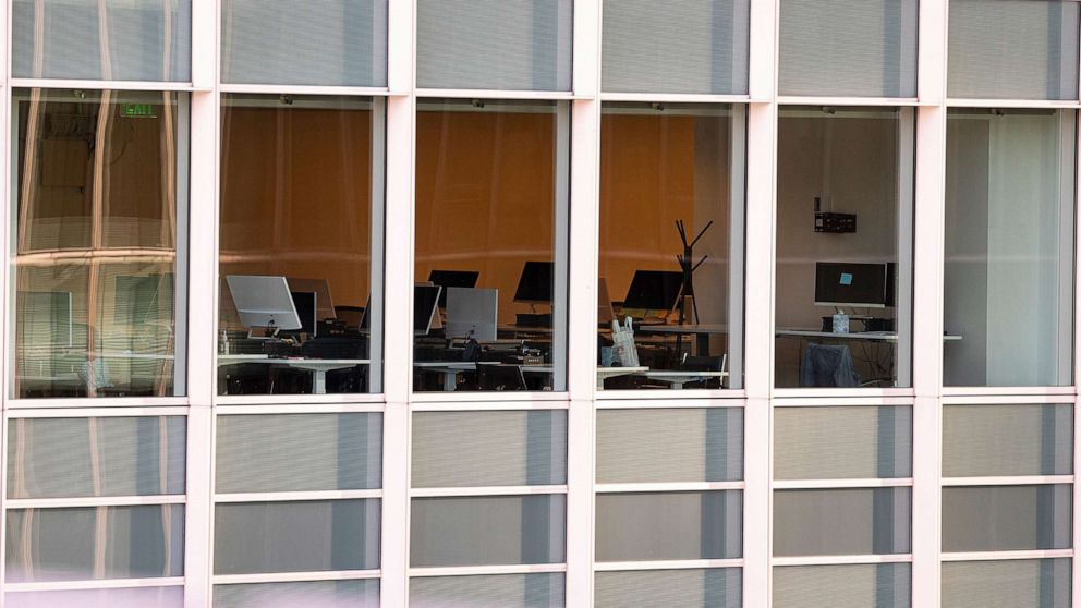 PHOTO: An empty workstation inside an office building in San Francisco,  on June 9, 2021.