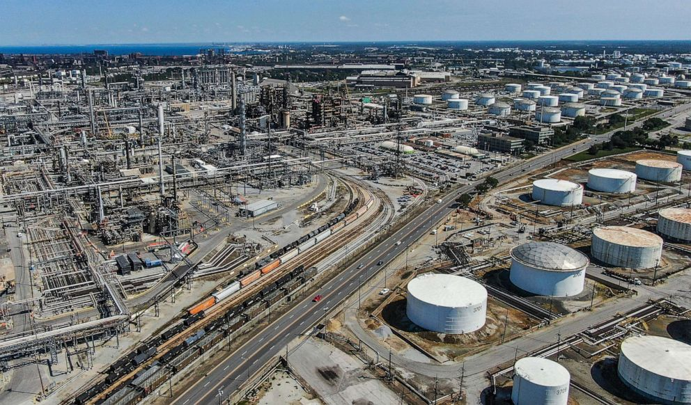 PHOTO: An aerial view taken with a drone shows the BP oil refinery and oil storage tanks in Whiting, Indiana, August 29, 2019.