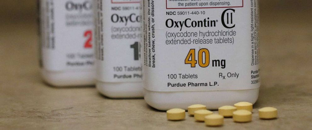 PHOTO: Bottles of prescription painkiller OxyContin pills, made by Purdue Pharma LP, sit on a counter at a local pharmacy in Provo, Utah, U.S., in this April 25, 2017 file photo.