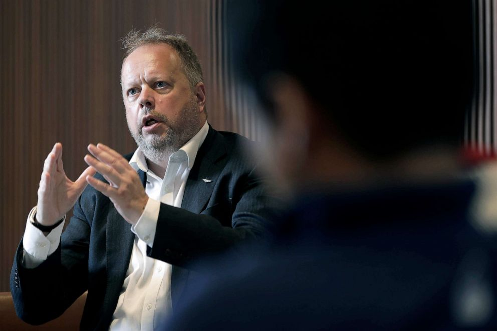 PHOTO: Andy Palmer, chief executive officer of Aston Martin Lagonda Global Holdings Plc, speaks during a group interview in Tokyo, Japan, Aug. 14, 2019.