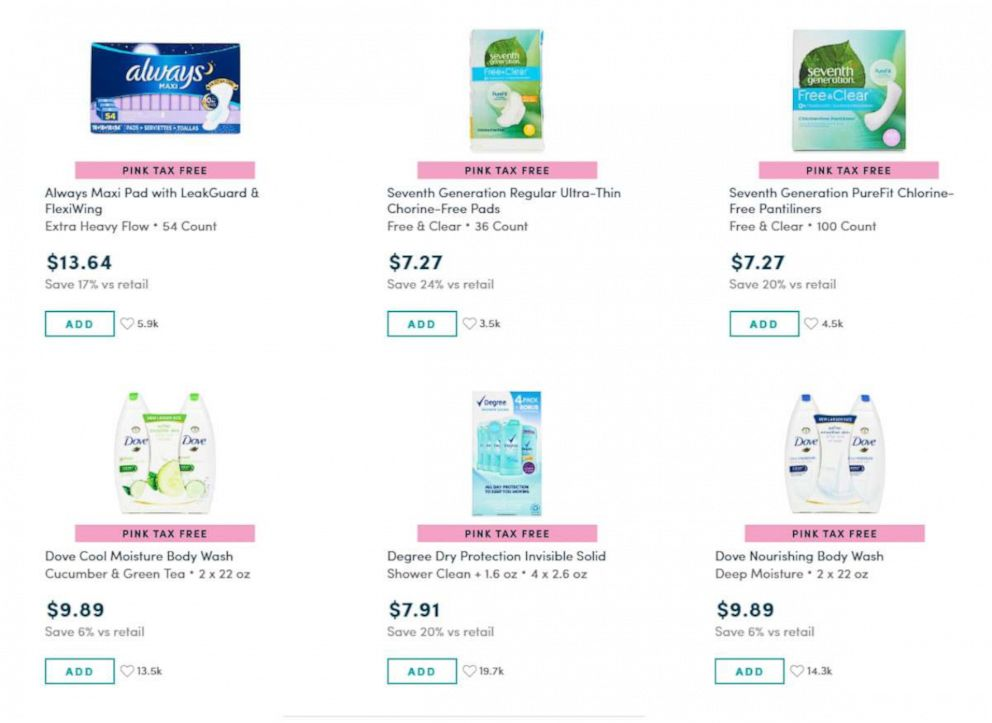PHOTO: Online retailer Boxed has eliminated the pink tax and gives customers the extra charges for menstrual products or womens items back as a rebate.