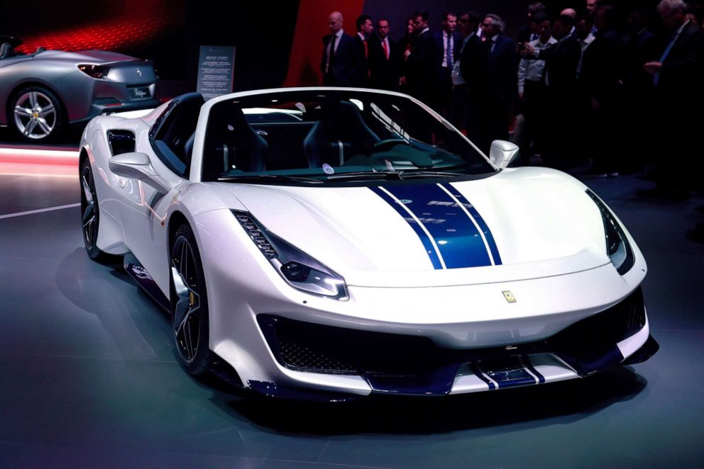 PHOTO: The Ferrari 488 Pista Spider on display at the Paris Motor Show, Oct. 2, 2018.
