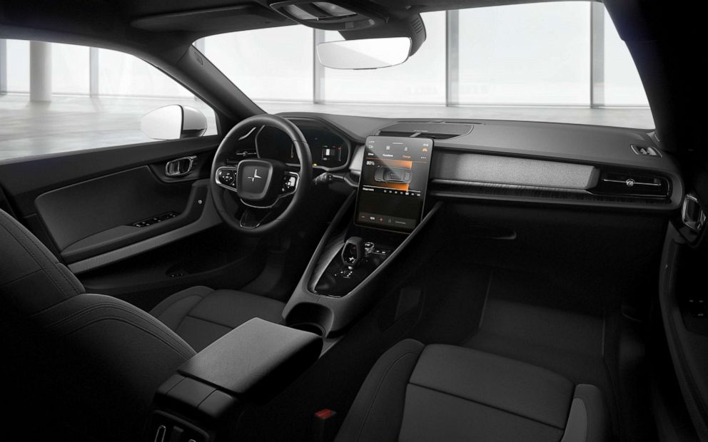 PHOTO: The interior of the Polestar 2 is available in WeaveTech, a vegan-friendly material.