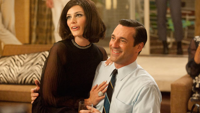 PHOTO: Actress Jessica Parre as Megan Draper and Jon Hamm as Don Draper in the fifth season premiere of Mad Men.