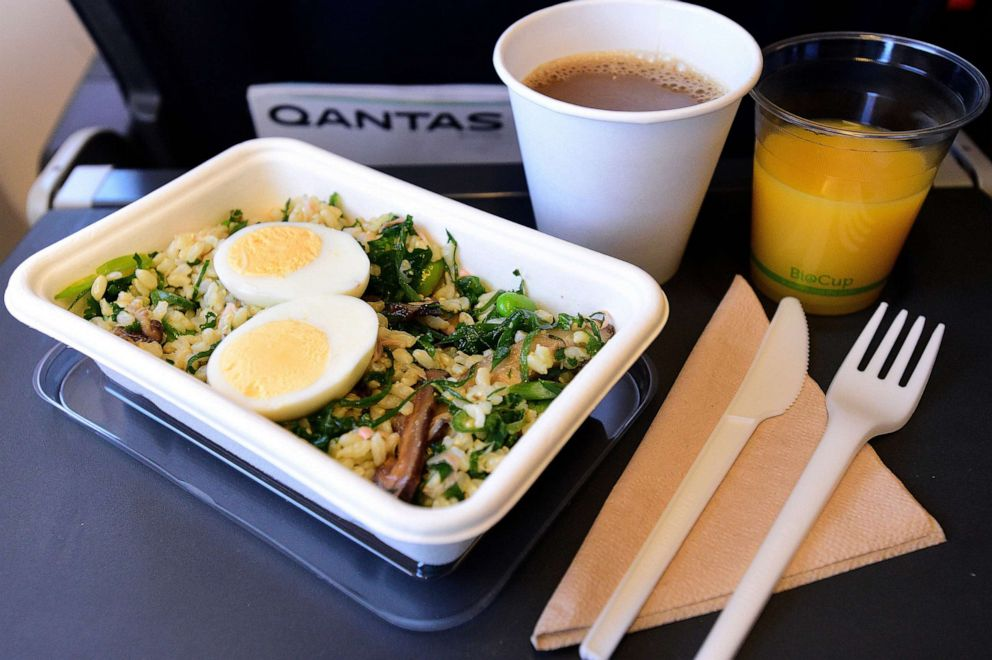 PHOTO: A meal is served in Qantas new biodegradable and recyclable food and beverage packaging on Qantas flight QF739 from Sydney to Adelaide, Australia, May 8, 2019, for the worlds first zero waste to landfill flight.