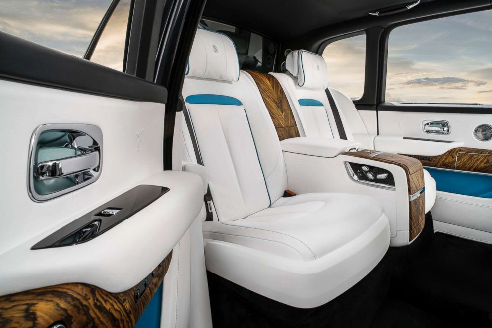 The interior of the Rolls-Royce Cullinan SUV is pictured in an undated handout image.
