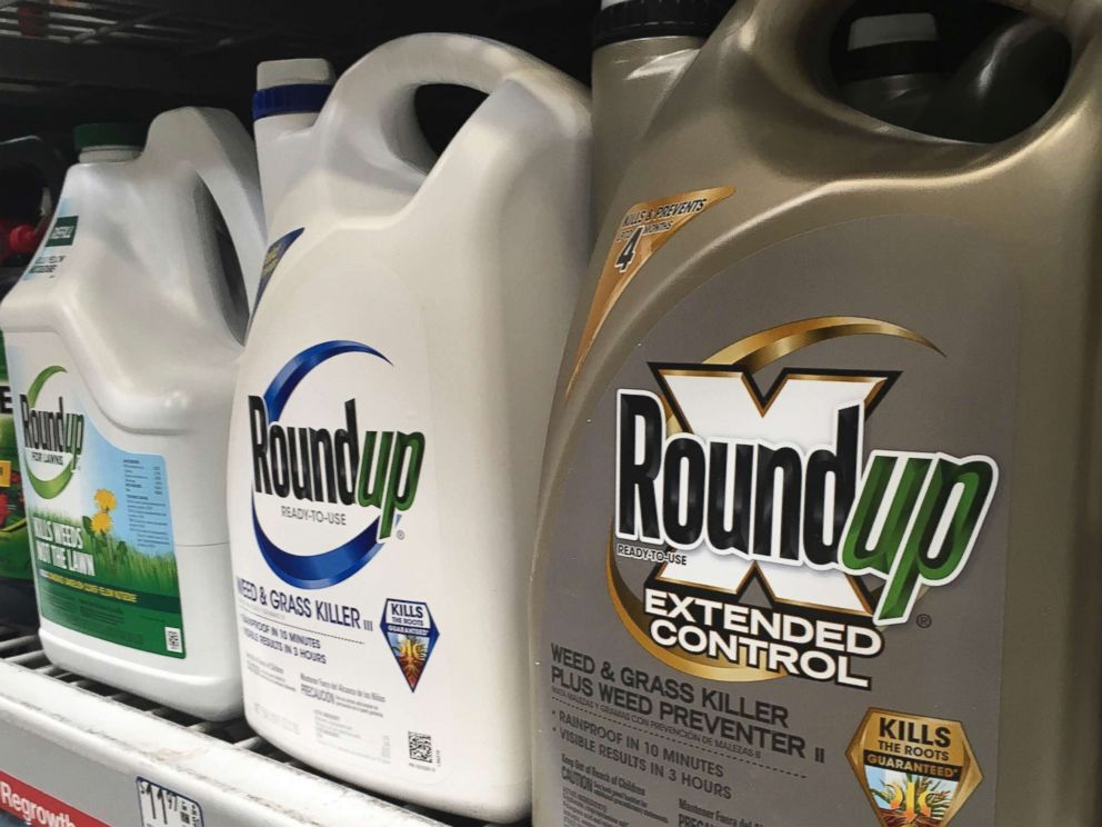 PHOTO: Roundup's containers are displayed on a shop shelf in San Francisco, February 24, 2019. A jury in a federal court in San Francisco concluded that the Roundup weed killer was an important factor in cancer in humans. California.
