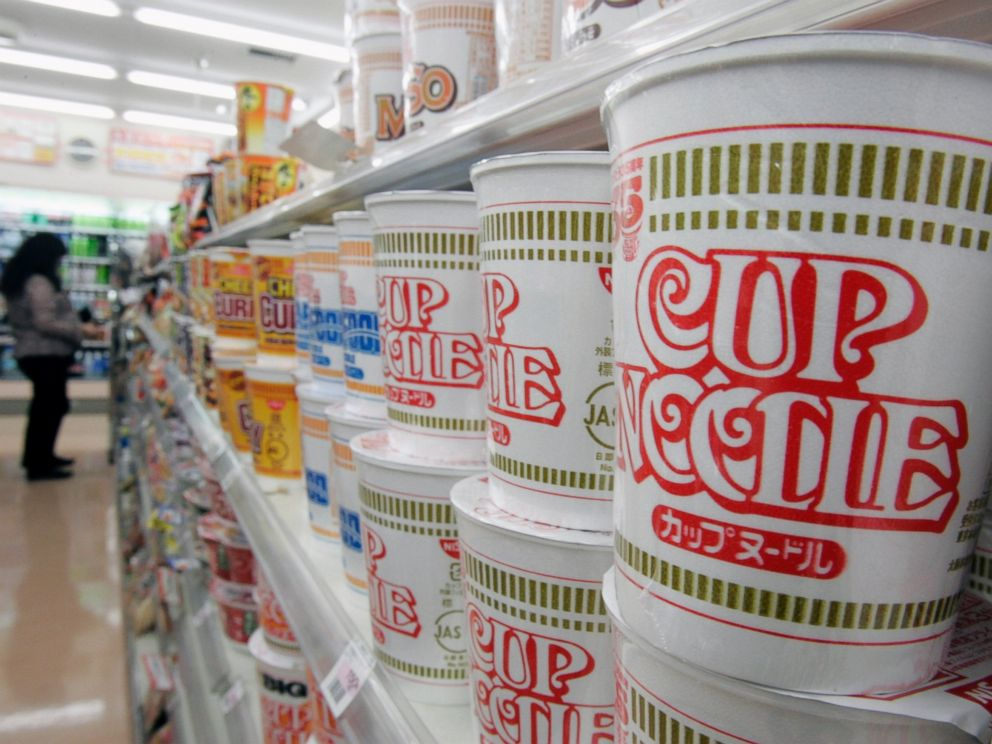 PHOTO: Japanese instant-noodle maker Nissin Food Products Cup Noodle are stacked at a convenience store in Tokyo on Nov. 15, 2006.