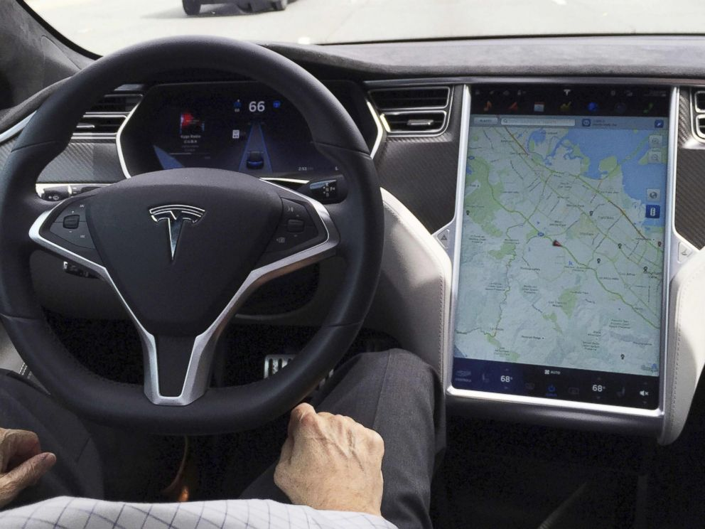 PHOTO: The interior of a Tesla Model S is shown in autopilot mode in San Francisco, California, April 7, 2016.