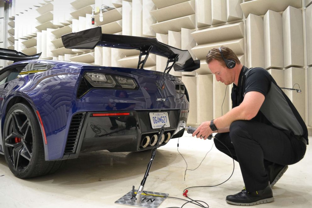 PHOTO: Charlie Rusher, a noise and vibration development engineer at Corvette, testing the ZR1s acoustics.
