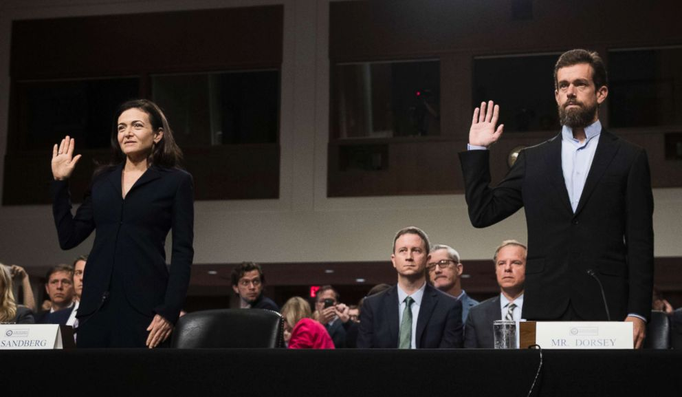 PHOTO: Facebook chief operating officer Sheryl Sandberg, left, and Twitter chief executive officer Jack Dorsey testify during a Senate Intelligence Committee hearing on Capitol Hill, Sept. 5, 2018 in Washington, D.C.