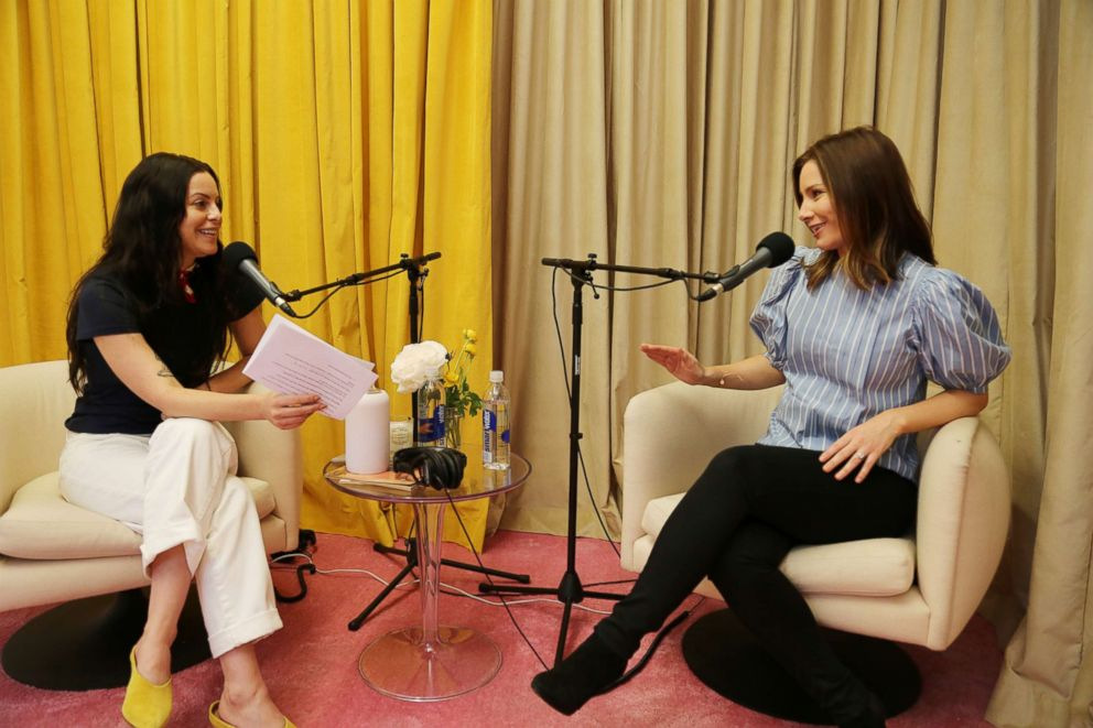 PHOTO: Inside the Girlboss headquarters in Los Angeles, CEO Sophia Amoruso and Rebecca Jarvis record crossover podcast episodes for No Limits with Rebecca Jarvis and Girlboss Radio with Sophia Amoruso