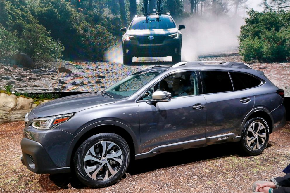PHOTO: The 2020 Subaru Outback Touring is presented at the 2019 New York International Auto Show, in New York, April 17, 2019.