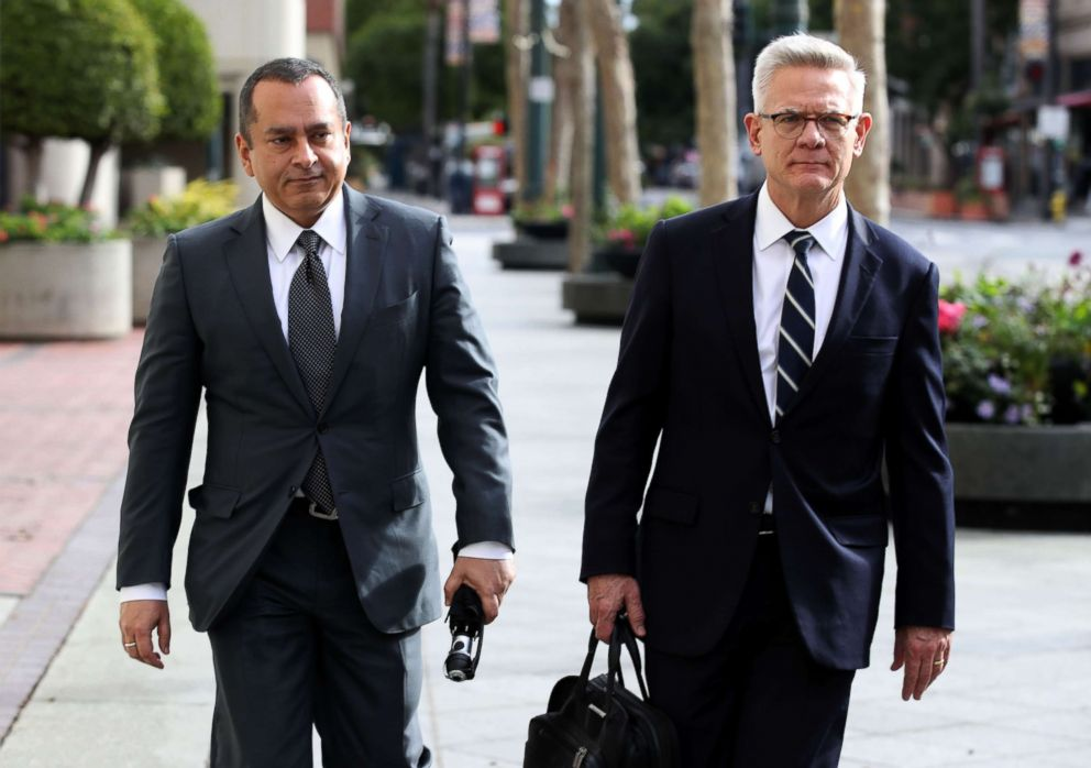 PHOTO: Former Theranos COO Ramesh Balwani (L) leaves the Robert F. Peckham U.S. Federal Court with his attorney, Jan. 14, 2019, in San Jose, Calif.