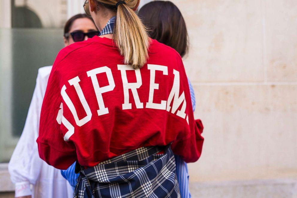 PHOTO: Fashion detail of a Supreme t-shirt, Sept. 29, 2018, in Paris.